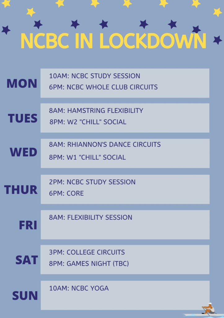 Light blue background with yellow and dark blue stars at the top. Title reads 'NCBC in lockdown'. Below is a weekly calendar showing activities taking place on each day.